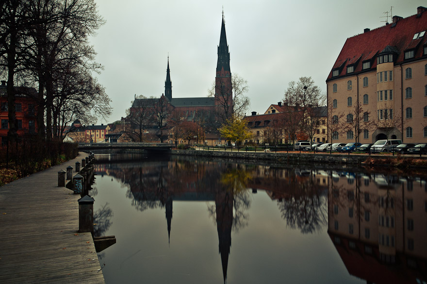 Long exposure shot of Uppsala, Sweden with Domkyrka (cathedral)