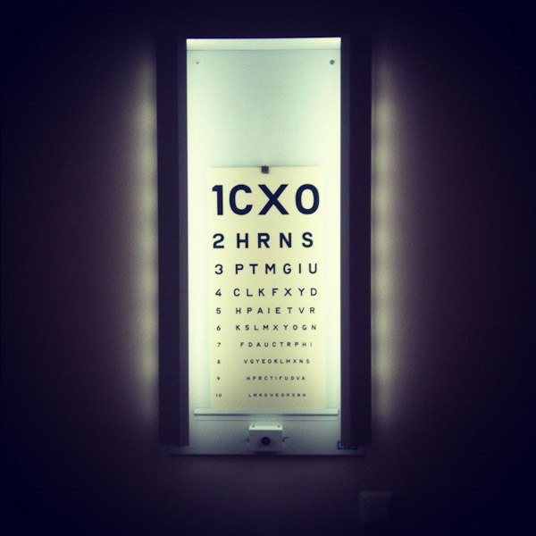 Eye chart at Akademiska hospital, Uppsala, Sweden