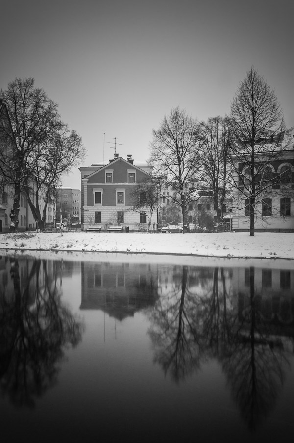 Reflection of house and trees in Uppsala, Sweden