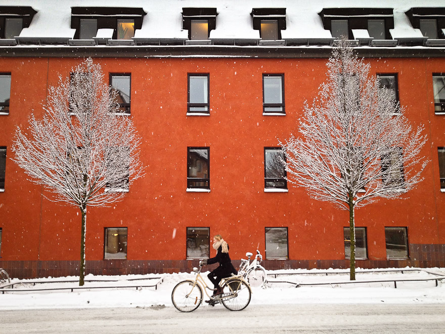Woman cycling in front of red building and trees in Uppsala, Sweden