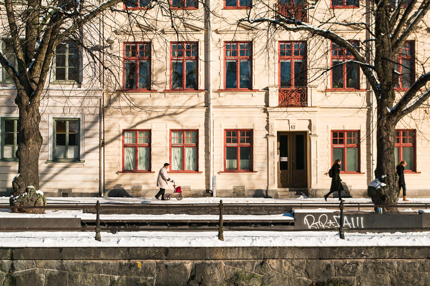 Women walking in front of building with windows in upswUppsala, Sweden