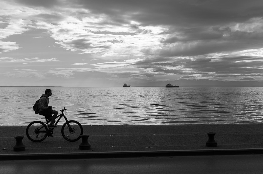 Boy riding bicycle in Thessaloniki, Greece
