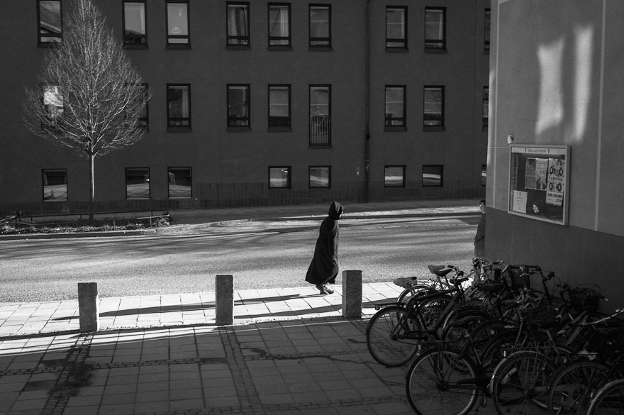 Woman walking in Uppsala, Sweden